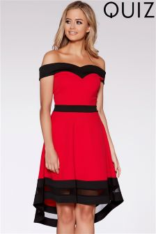Quiz Bardot Dip Hem Dress