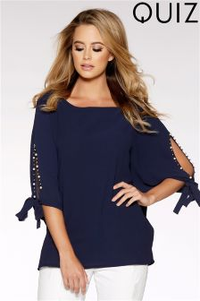 Quiz Split Tie Sleeve Batwing Top