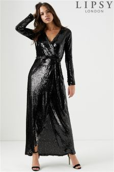 Lipsy All Over Sequin Wrap Maxi Dress
