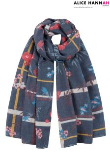 Alice Hannah Asymmetric Floral Print Light-weight Woven Scarf