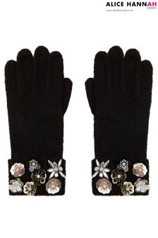 Alice Hannah Floral Trim Knitted Gloves