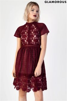 Glamorous Lace High Neck Skater Dress