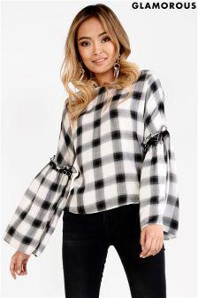 Glamorous Check Shirt With Flared Sleeve