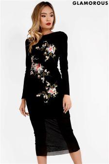 Glamorous Embroidered Mesh Midi Dress