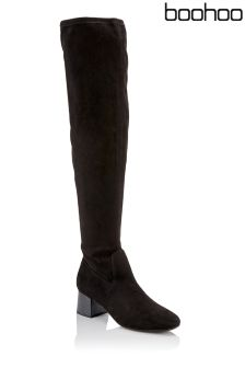 Boohoo Block Heel Over The Knee Boots