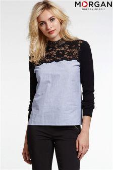 Morgan Long Sleeve Lace Neck Top