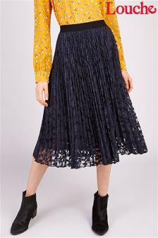 Louche Pleated Lace Midi Skirt