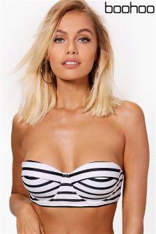 Boohoo Stripe Underwired Bikini Top