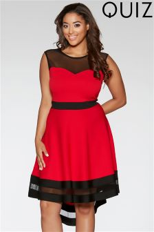 Quiz Curve Mesh Dip Hem Skater Dress