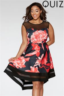Quiz Curve Floral Mesh Dip Hem Dress