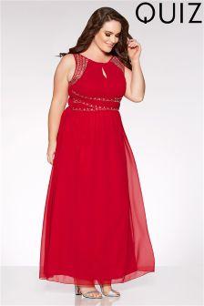 Quiz Curve Berry Chiffon Embellished Maxi Dress