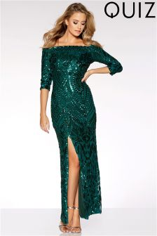 Quiz Sequin Bardot Maxi Dress