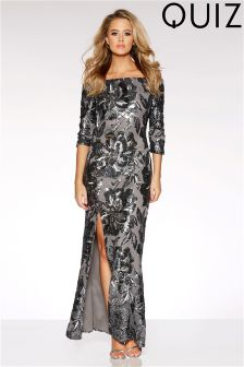 Quiz Flower Sequin Bardot Maxi Dress