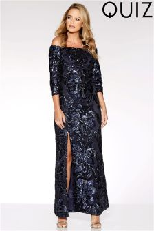 Quiz Flower Sequin Bardot Maxi Dress