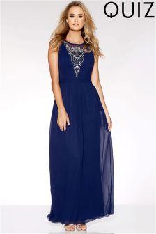Quiz V neck Embellished Maxi Dress