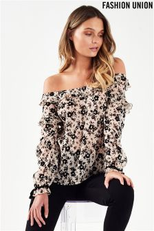 Fashion Union Velvet Flocked Bardot Top