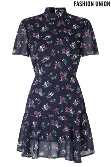 Fashion Union Floral Print Dress With Open Back Detail
