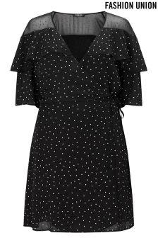Fashion Union Curve Polka Dot Wrap Dress