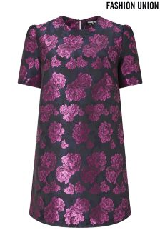 Fashion Union Curve Floral Jacquard Dress