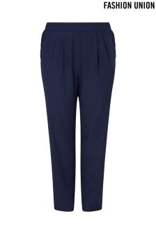 Fashion Union Curve Frill Trousers