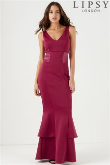Lipsy Satin Panel Fishtail Maxi Dress