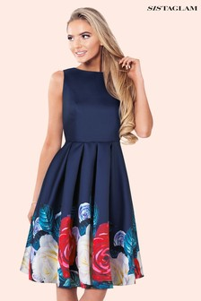 Sistaglam Floral Border Print Dress