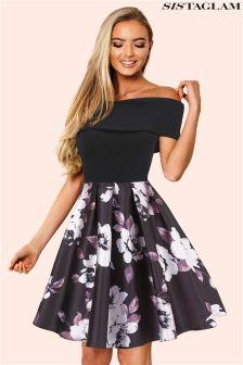 Sistaglam Bardot Multi Floral Skater Dress