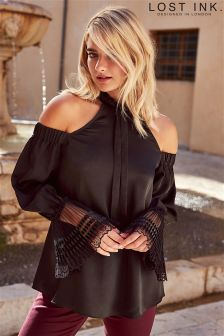 Lost Ink Pleated Detail Cuff Bardot Top