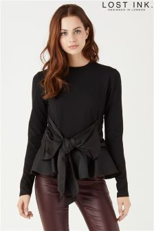 Lost Ink Big Bow Peplum Blouse