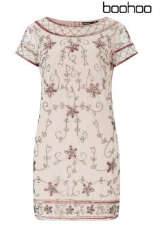 Boohoo Embellished Cap Sleeve Shift Dress