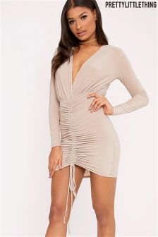 PrettyLittleThing Plunge Ruched Front Bodycon Dress