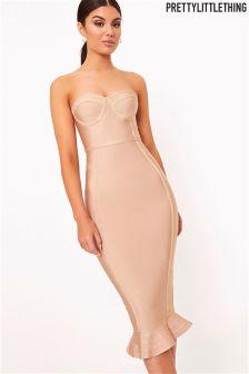 PrettyLittleThing Roxina Bandage Frill Hem Midi Dress