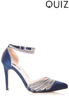 Quiz Diamanté Strap Pointed Court Heels