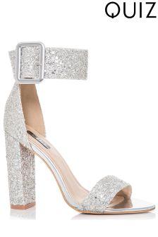 Quiz Glitter Buckle Heeled Sandals