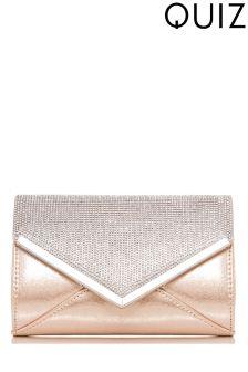 Quiz Shimmer Diamanté Envelope Bag