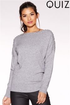Quiz Light Knit Stud Batwing Top