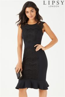 Lipsy Lace Panel Midi Dress
