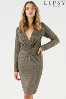 Lipsy Lurex Long Sleeve Wrap Dress
