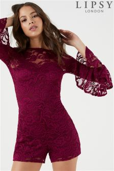 Lipsy All Over Lace Flute Sleeve Playsuit
