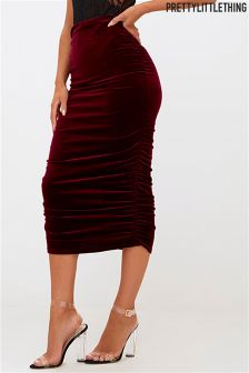 PrettyLittleThing Velvet Bodycon Skirt
