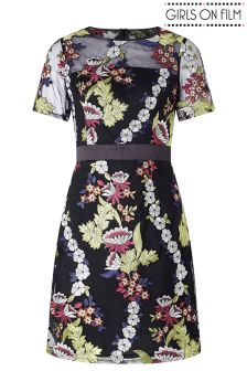 Girls On Film Floral Embroidered Dress