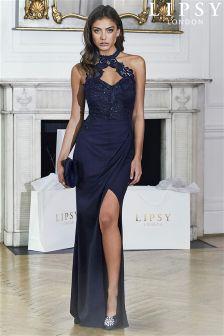 Lipsy Petite Sequin Bust Wrap Maxi Dress