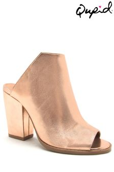 Metaliczne pantofle bez pięty Qupid