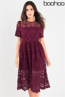 Boohoo Crochet Panelled Skater Dress