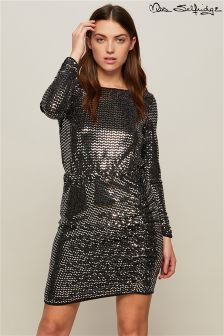 Miss Selfridge Mirror Glitter Side Rouched Dress