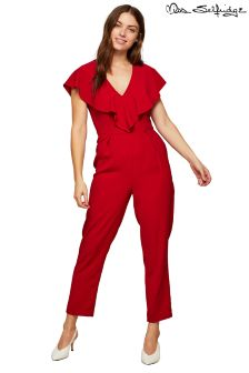 Miss Selfridge V neck Frill Cape Tapered Leg Jumpsuit