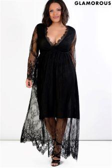Glamorous Curve Lace Maxi Dress