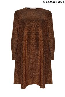 Glamorous Curve Metallic Smock Dress