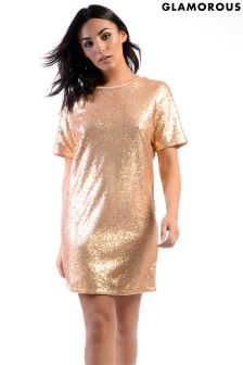 Luźna sukienka cekinowa Glamorous