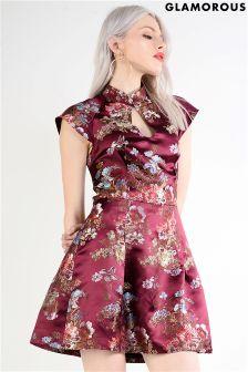 Glamorous Brocade Skater Dress